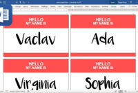 How To Create Name Tags (Badges) In Microsoft Word (Tutorial) inside Name Tag Template Word 2010