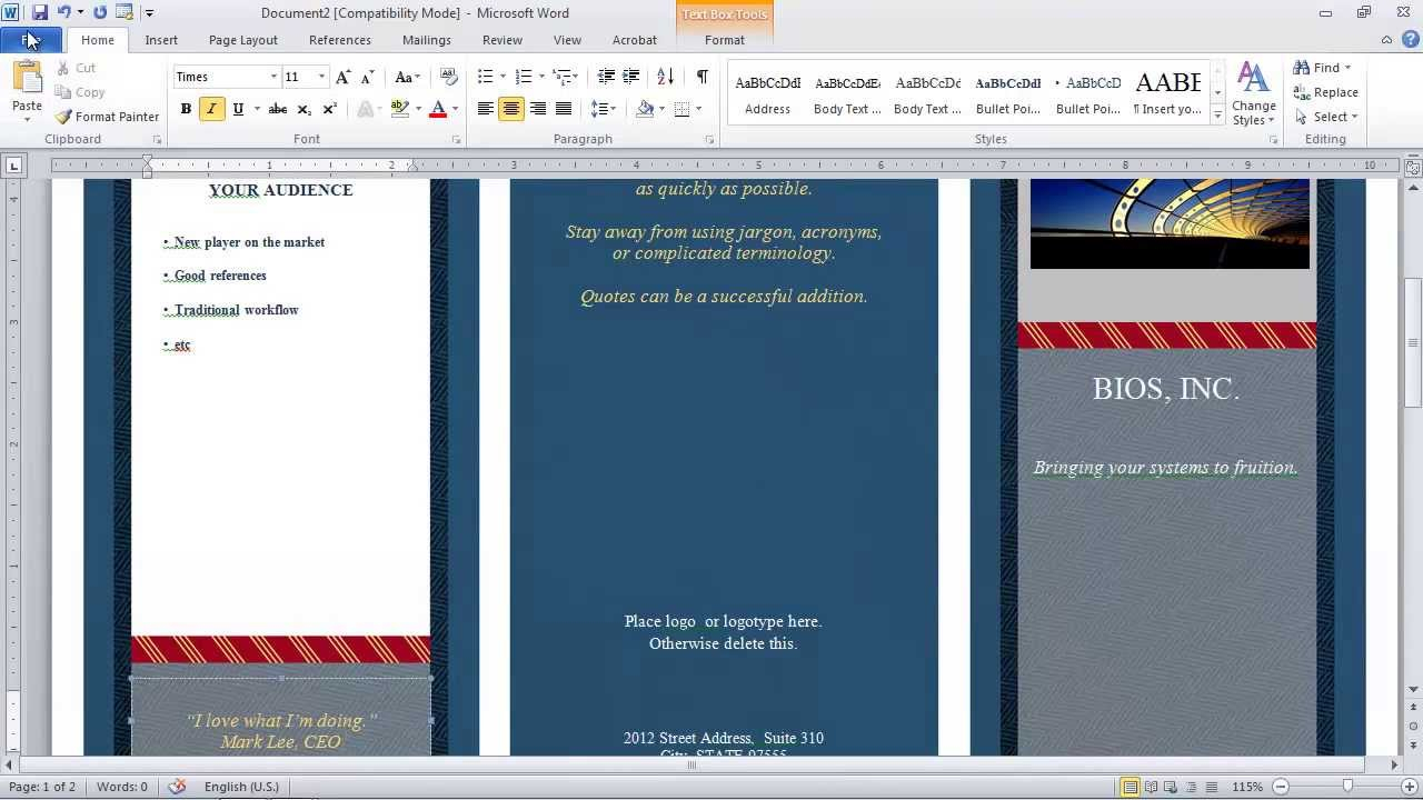 How To Make A Brochure In Microsoft Word Within Microsoft Word Pamphlet Template