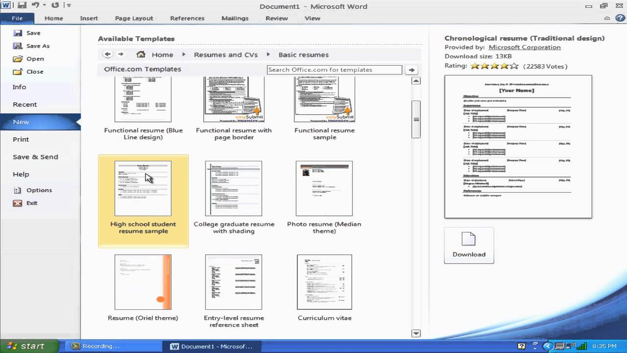 """""""how To Make A Resume With Microsoft Word 2010"""" Inside How To Get A Resume Template On Word"""