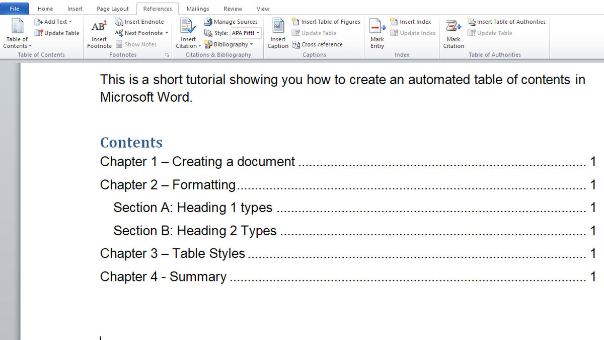 How To Make Automated Table Of Contents In Microsoft Word With Regard To Contents Page Word Template
