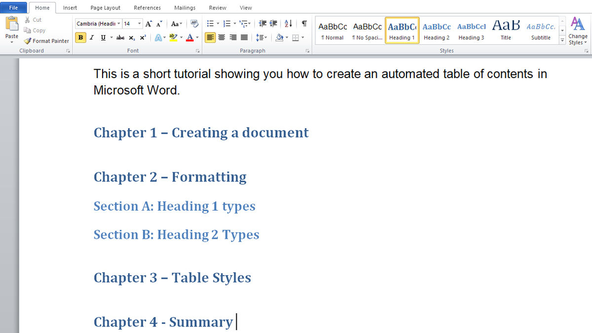 How To Make Automated Table Of Contents In Microsoft Word Within Contents Page Word Template