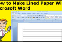 How To Make Lined Paper With Microsoft Word With Notebook Paper Template For Word 2010