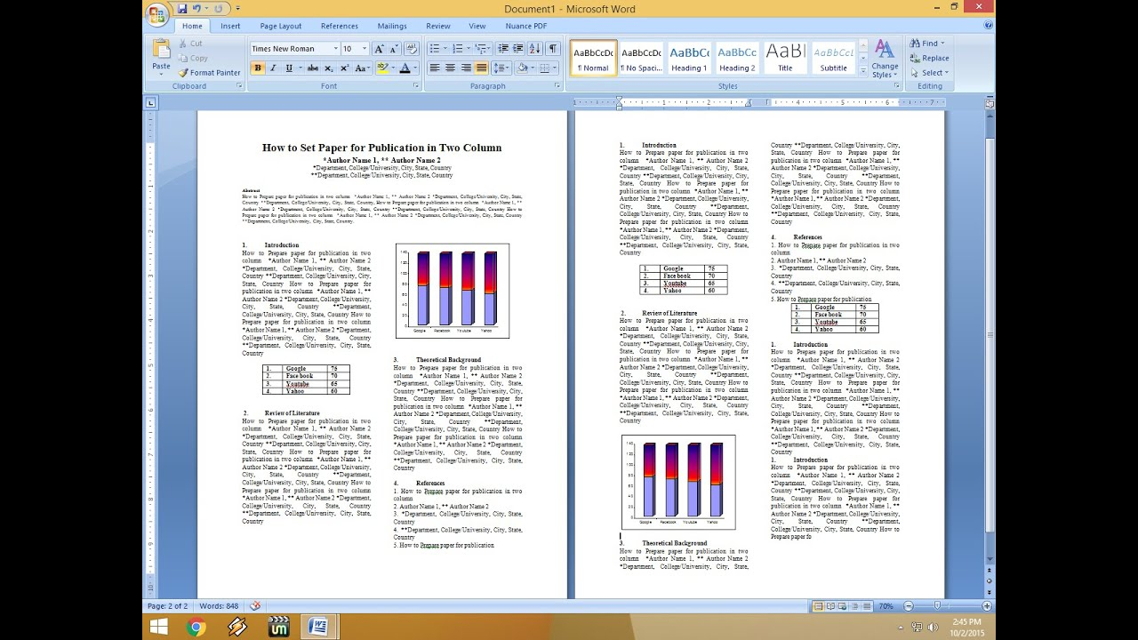 How To Set Two Column Paper For Publication With Scientific Paper Template Word 2010