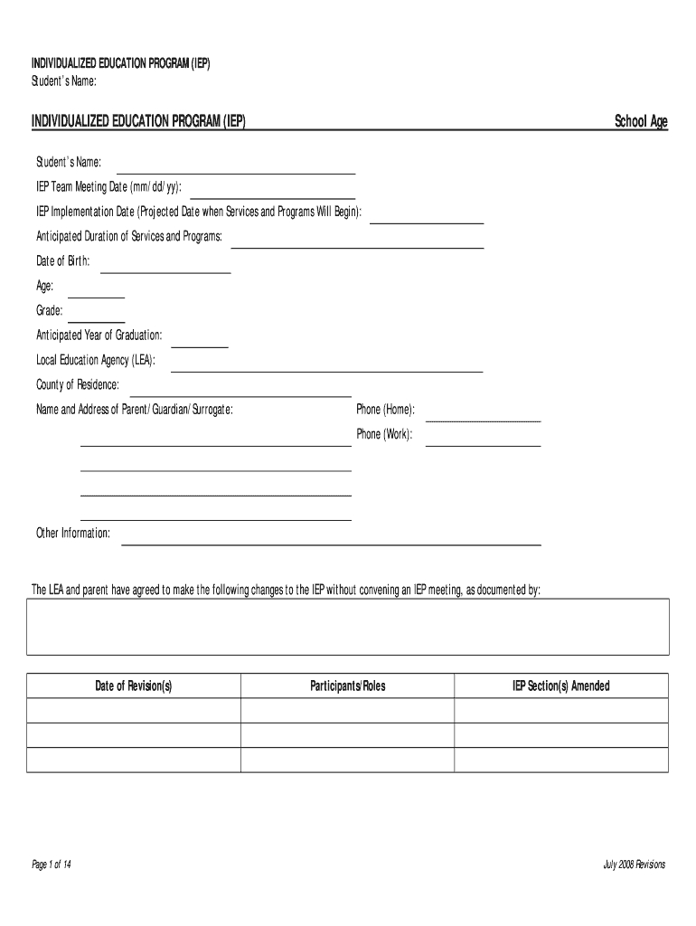 Iep Template - Fill Online, Printable, Fillable, Blank Throughout Blank Iep Template
