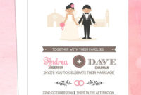 Illustrated Couple In Front Of Church Wedding Invitation within Church Invite Cards Template