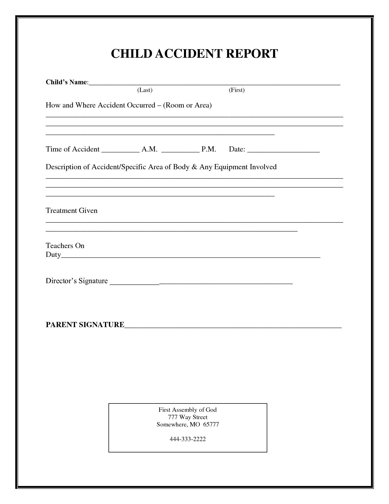 Incident Report Form Child Care | Child Accident Report With Regard To School Incident Report Template