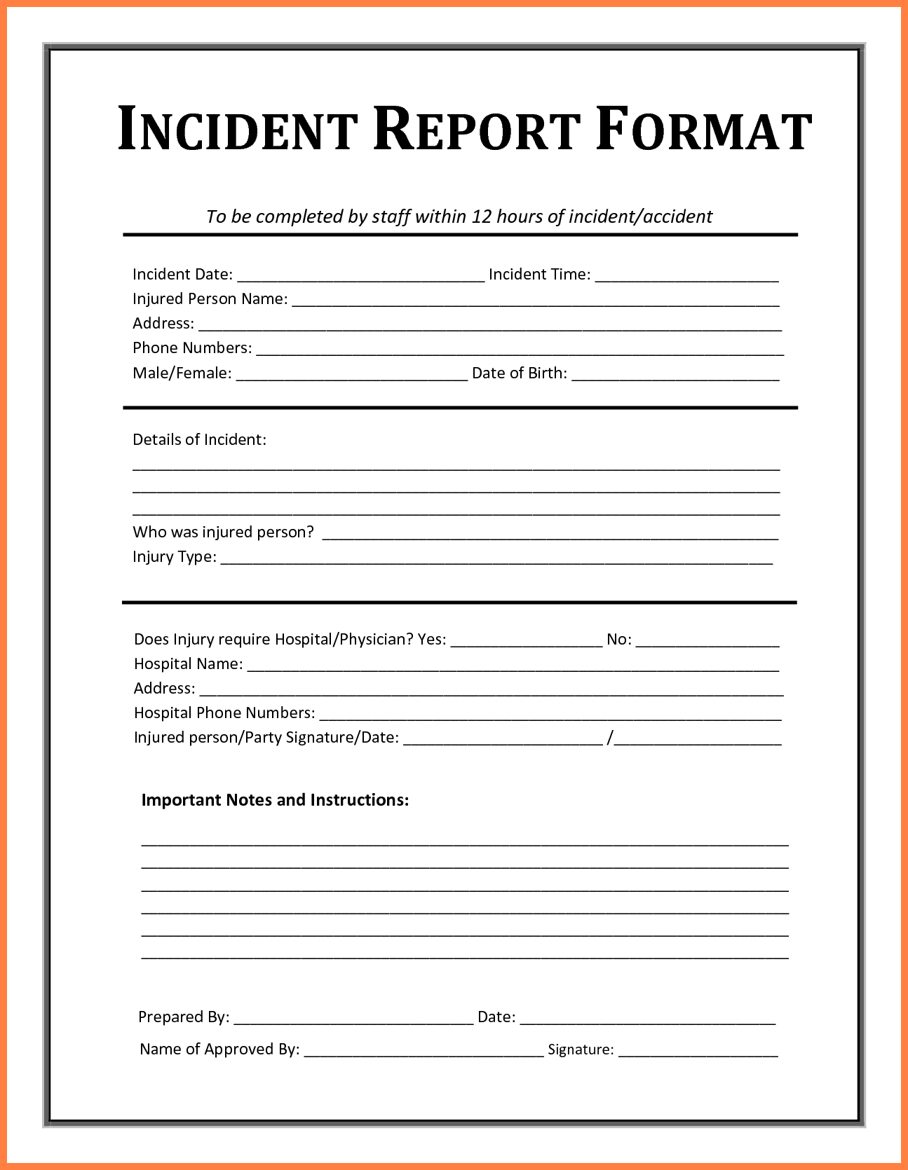 Incident Report Template - Free Incident Report Templates Throughout Office Incident Report Template