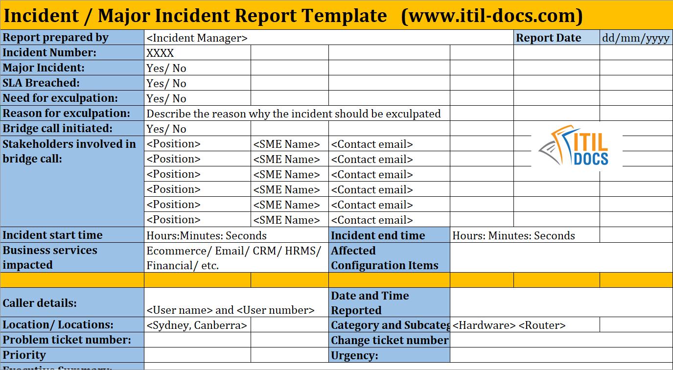 Incident Report Template | Major Incident Management – Itil Docs For Incident Report Template Itil