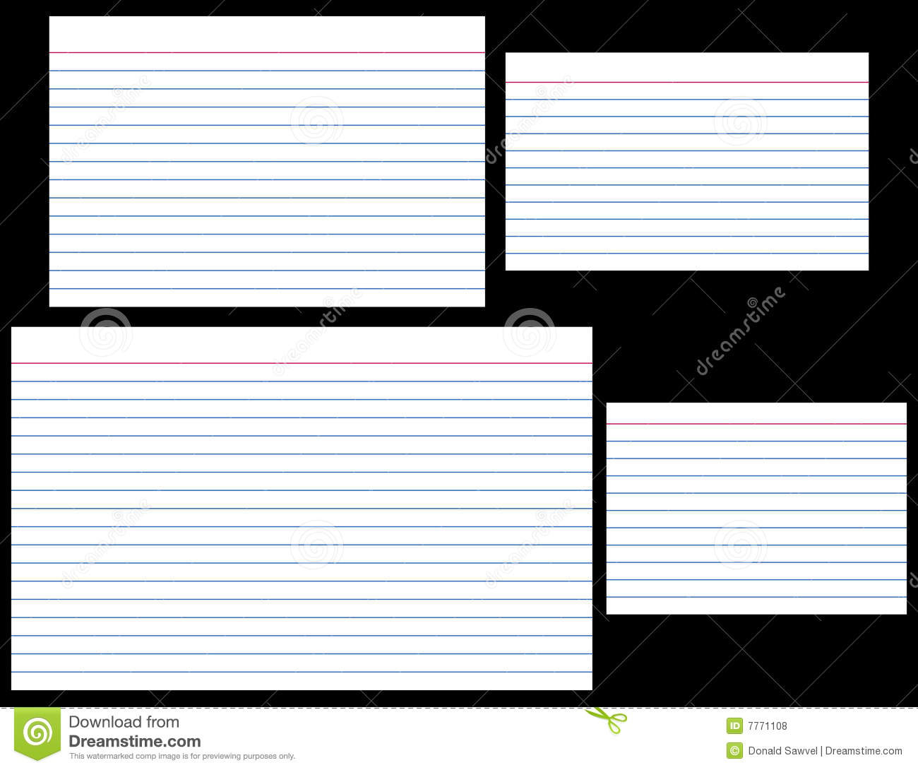 Index Cards Stock Vector. Illustration Of Stationery, Lined Inside 5 By 8 Index Card Template
