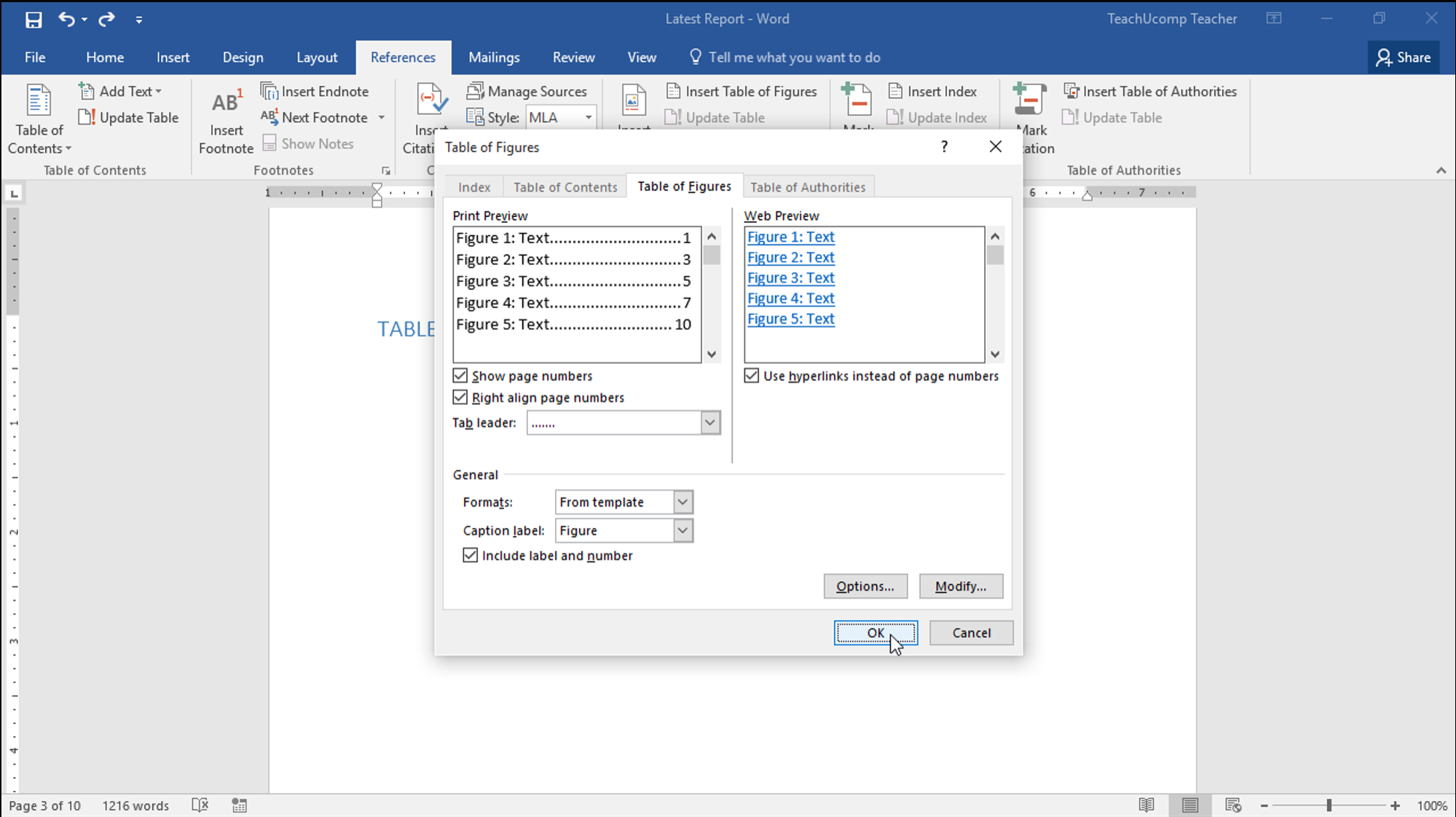 Insert A Table Of Figures In Word - Teachucomp, Inc. Pertaining To Microsoft Word Table Of Contents Template