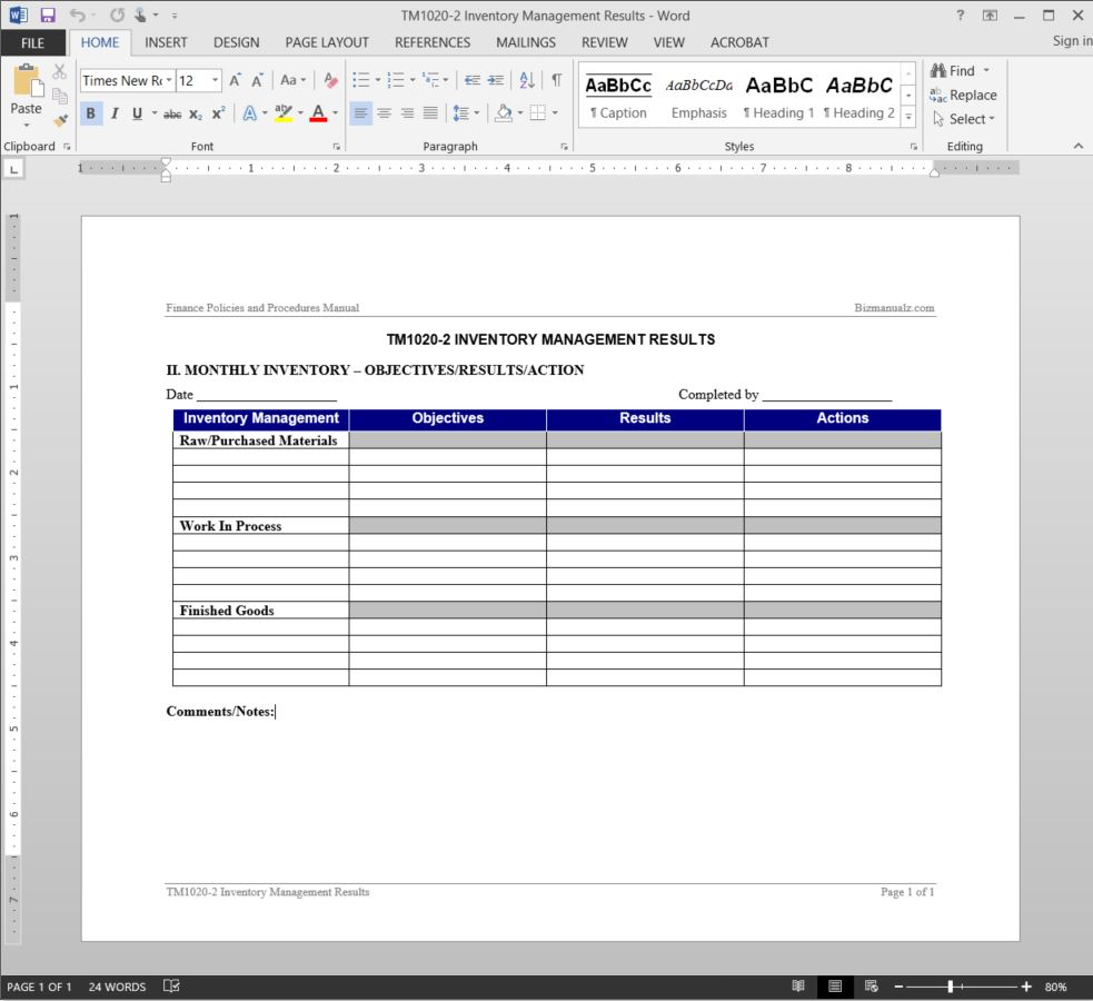 Inventory Management Report Template | Tm1020 2 With It Management Report Template