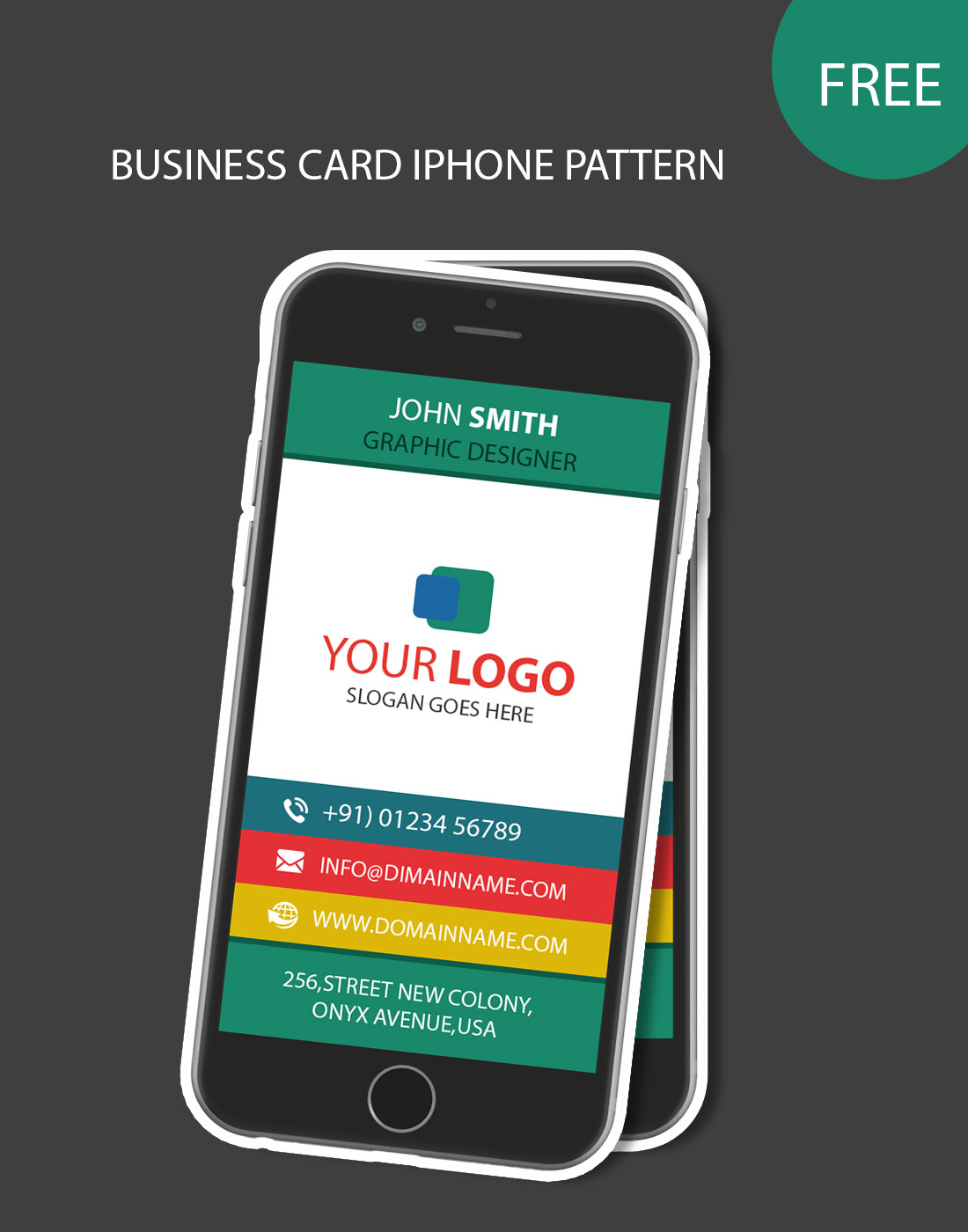 Iphone Pattern Business Card With Regard To Iphone Business Card Template