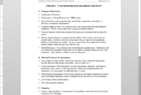 It Outsource Due Diligence Checklist Template | Itad109-1 inside Vendor Due Diligence Report Template