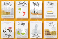 Italy Vector Brochure Cards Flat Set. Country Travel Template.. regarding Country Brochure Template