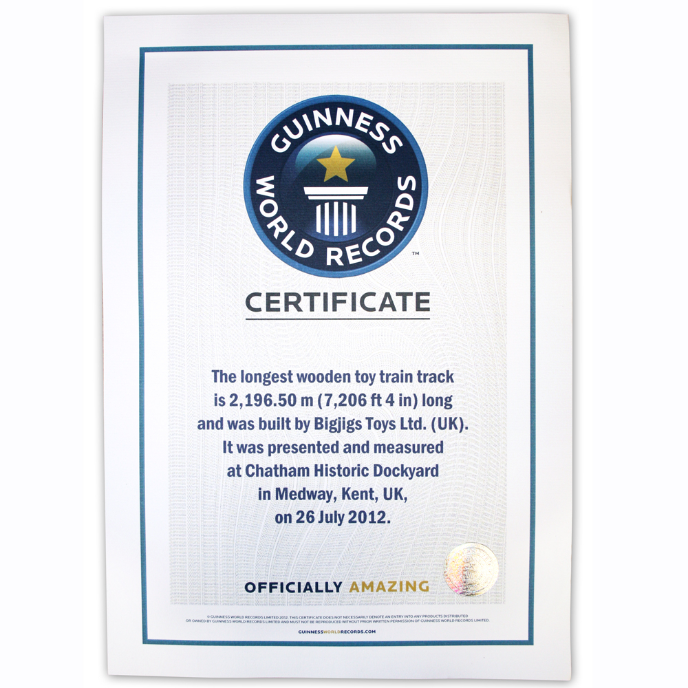 It's Official! | Bigjigs Toys Uk Blog For Guinness World Record Certificate Template