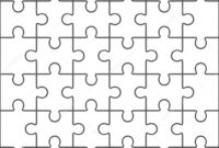 Jigsaw Puzzle Blank Template, 36 Pieces — Stock Vector throughout Blank Jigsaw Piece Template