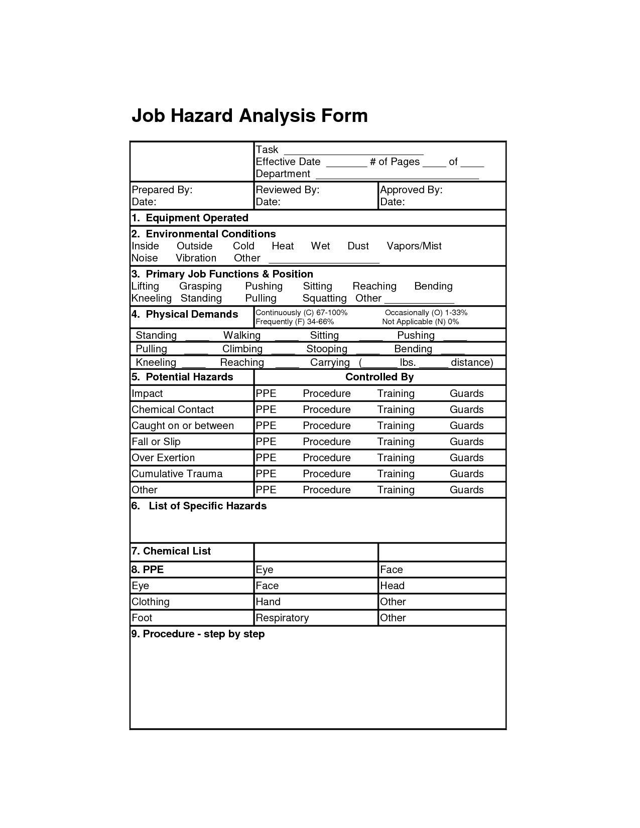 Job Hazard Analysis Form   Job Analysis Forms   Job Analysis With Safety Analysis Report Template
