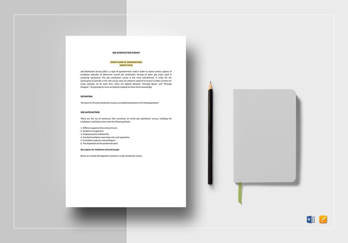 Job Satisfaction Survey Template Regarding Employee Satisfaction Survey Template Word