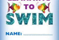 Kids Certificate For Learning To Swim | Swim | Learn To Swim in Swimming Certificate Templates Free