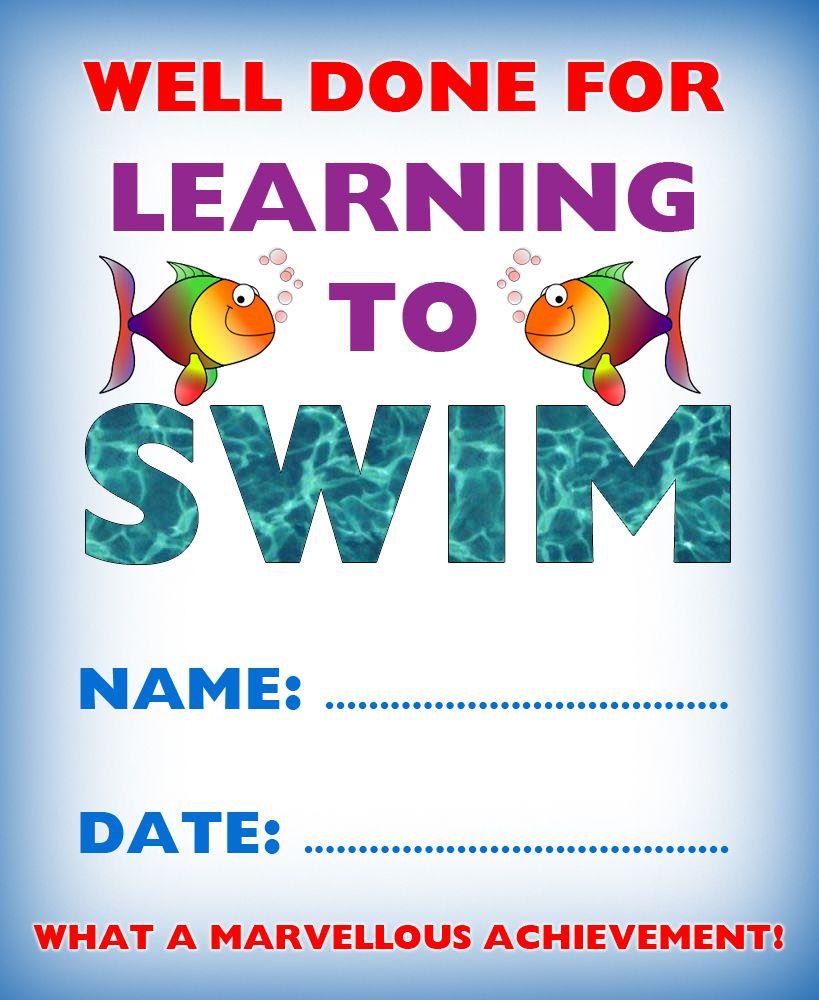 Kids Certificate For Learning To Swim   Swim   Learn To Swim In Swimming Certificate Templates Free