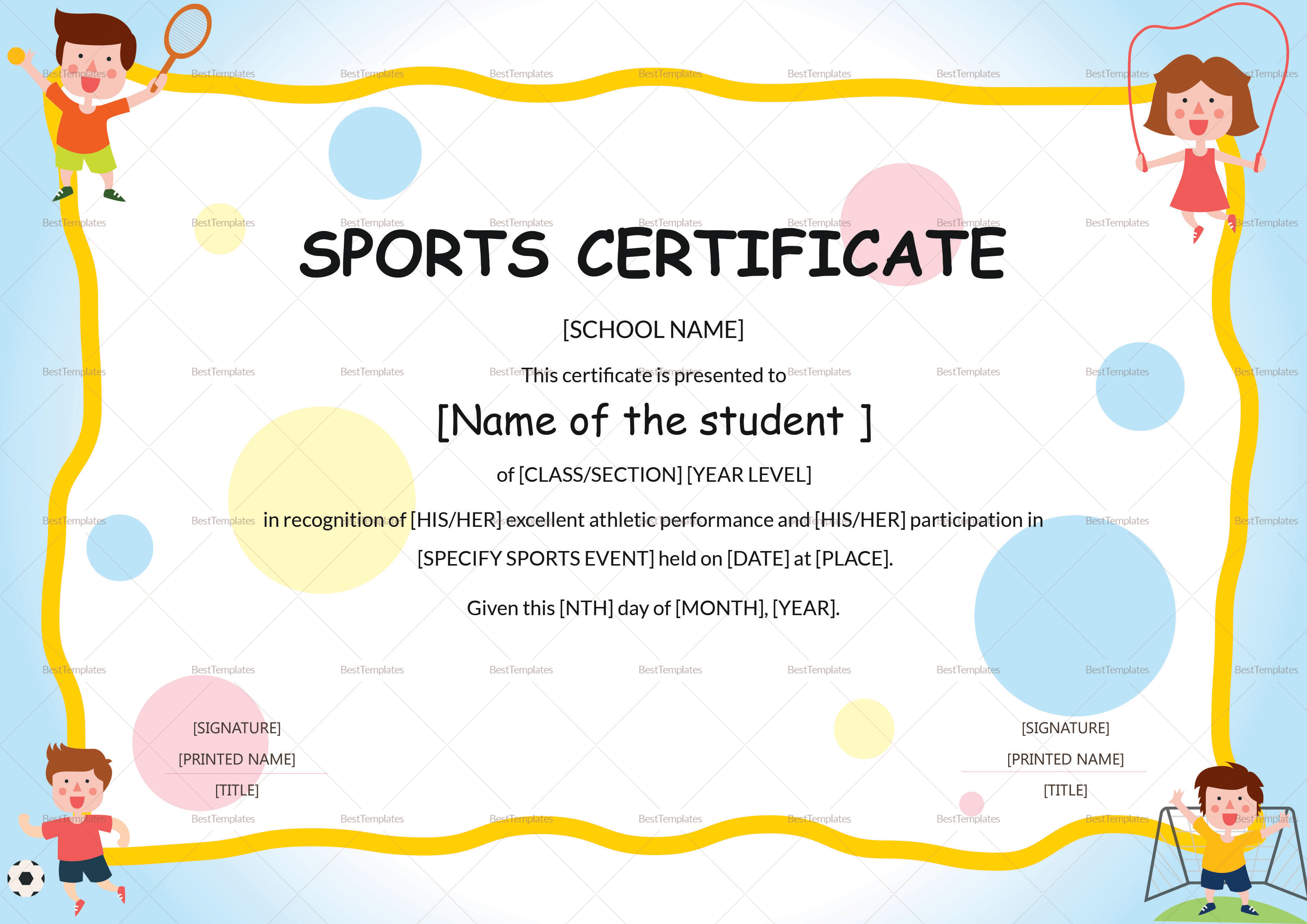 Kids Sports Participation Certificate Template In Athletic Certificate Template