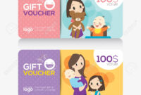 Kids Store Coupon Voucher Or Gift Card Design Template With Illustration.. with regard to Kids Gift Certificate Template