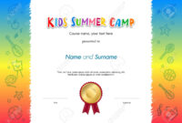 Kids Summer Camp Diploma Or Certificate Template Award Seal With.. Throughout Fun Certificate Templates