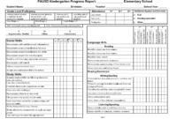 Kindergarten Social Skills Progress Report Blank Templates for Blank Report Card Template