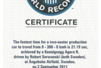 Koenigsegg Agera R Guiness World Record Certificate 30.11 Intended For Guinness World Record Certificate Template
