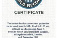 Koenigsegg Agera R Guiness World Record Certificate 30.11 intended for Guinness World Record Certificate Template