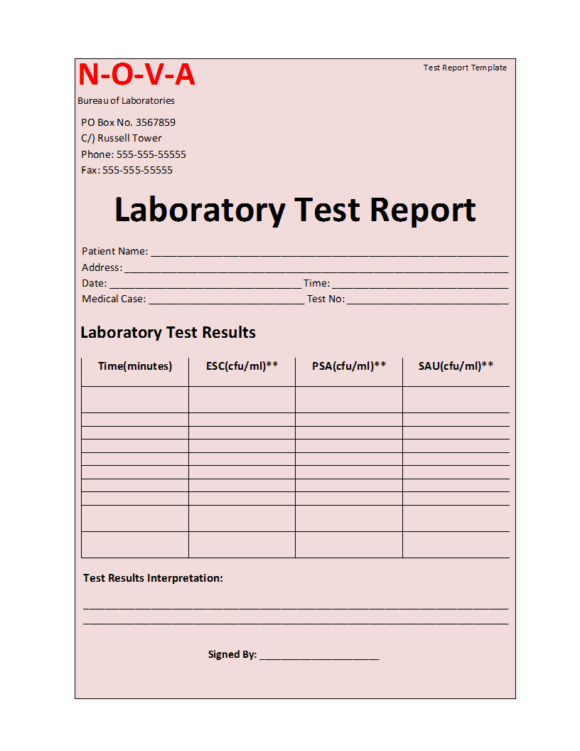 Laboratory Test Report Template For Weekly Test Report Template