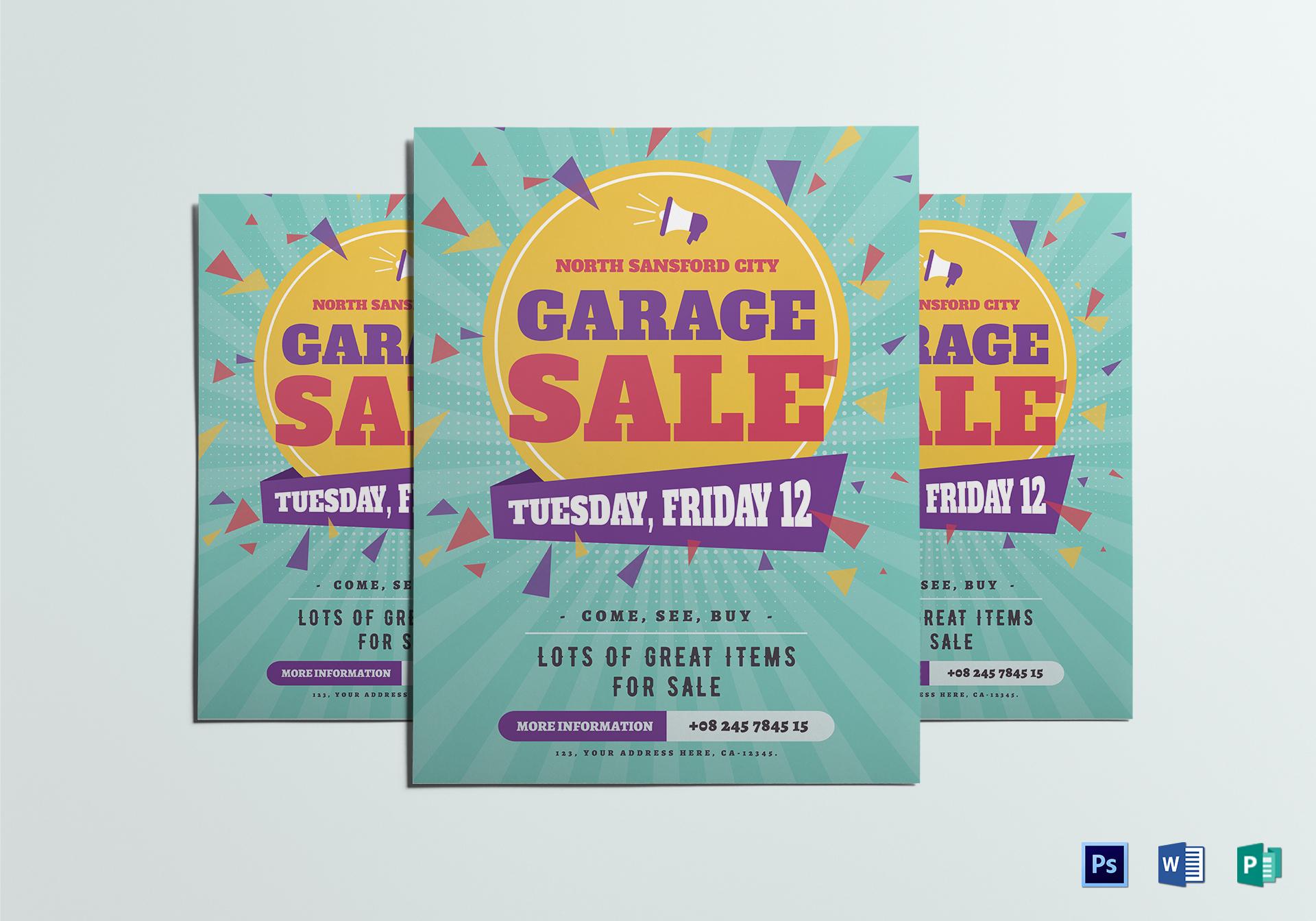 Large Garage Sale Flyer Template With Garage Sale Flyer Template Word