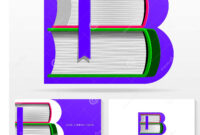 Letter B Logo Design Template. Letter B Made Of Books regarding Library Catalog Card Template