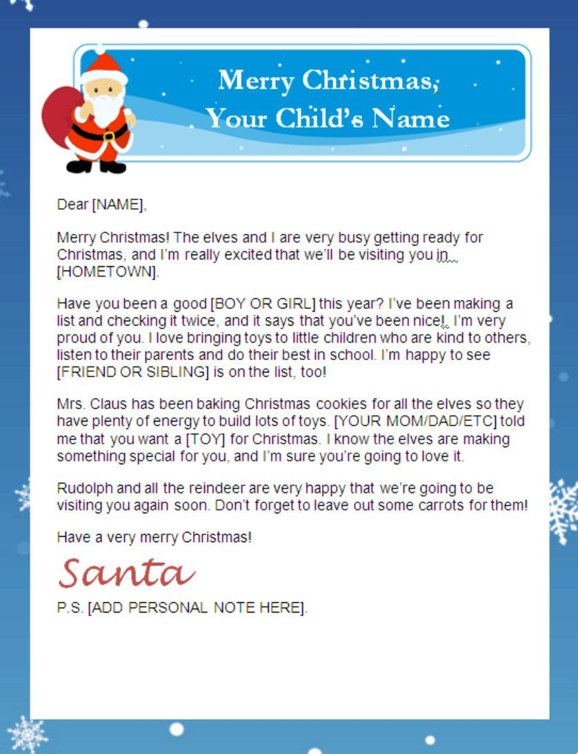 Letter From Santa Templates Free   Printable Santa Letters Regarding Santa Letter Template Word