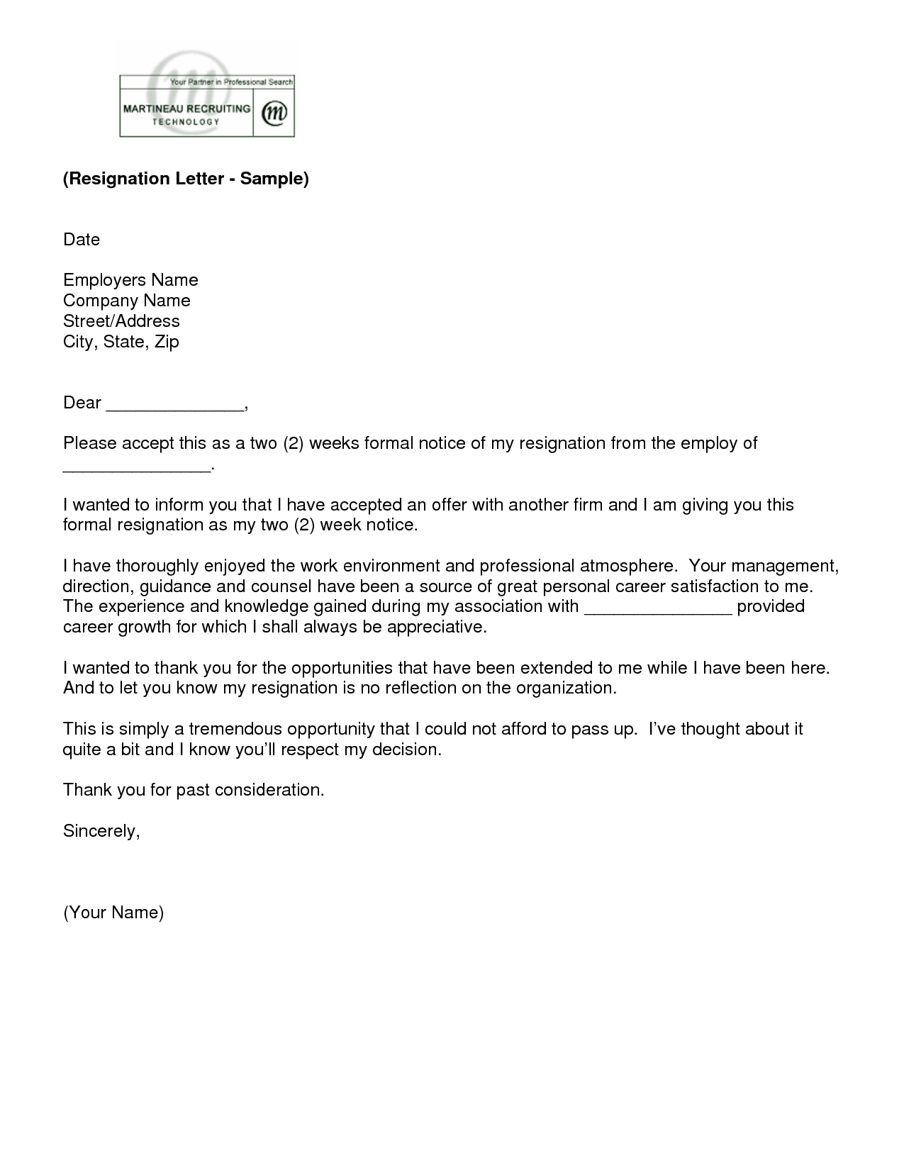 Letter Of Resignation 2 Weeks Notice Template | Employee Inside Two Week Notice Template Word