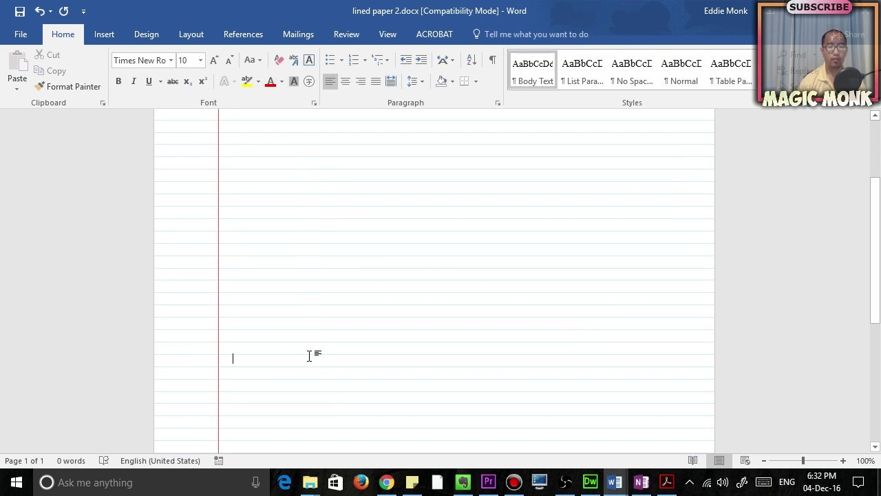 Lined Paper In Microsoft Word, Pdf Pertaining To Notebook Paper Template For Word 2010