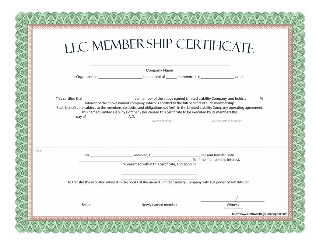 Llc Membership Certificate - Free Template Regarding Llc Membership Certificate Template Word