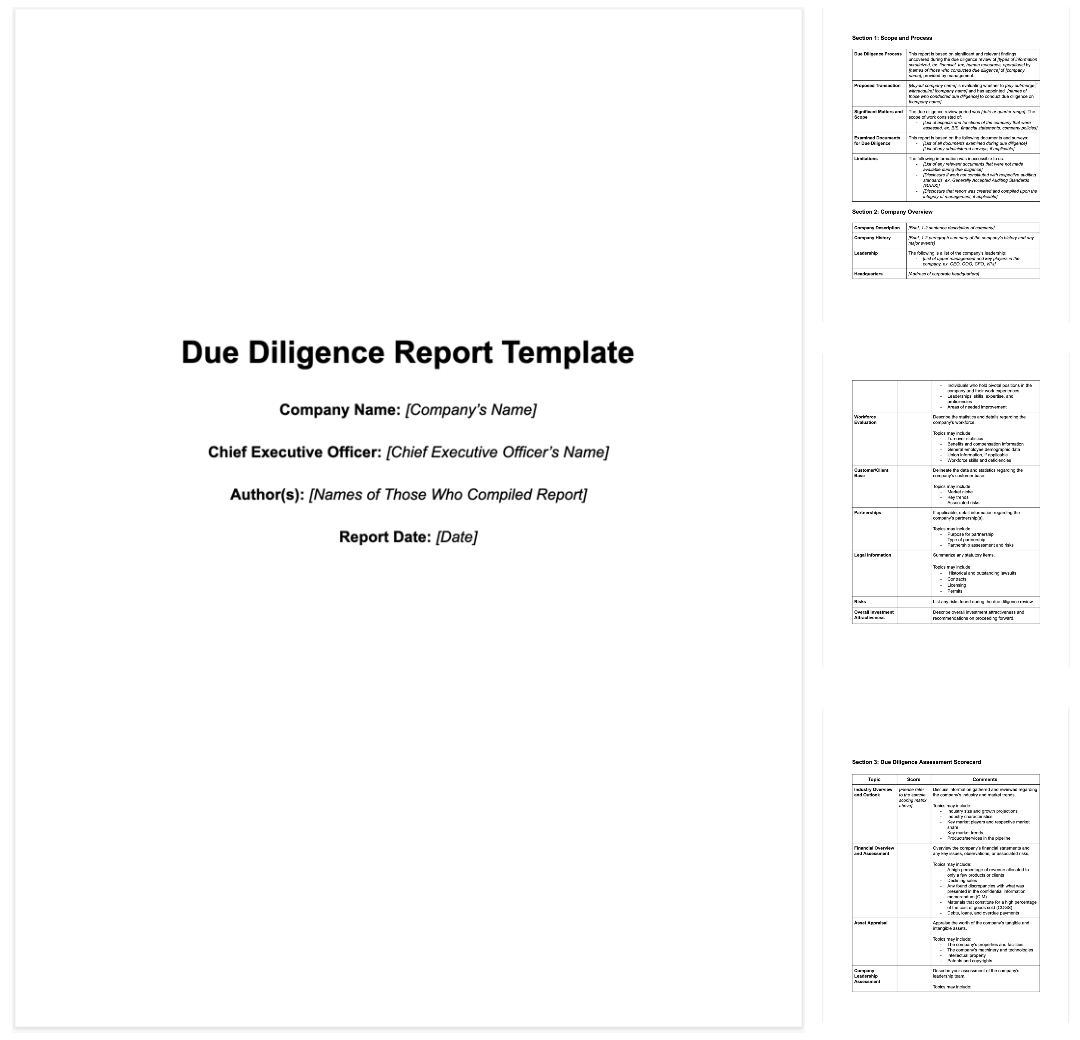 M&a Due Diligence Report [Sample Template + Excel Checklist] Pertaining To Vendor Due Diligence Report Template