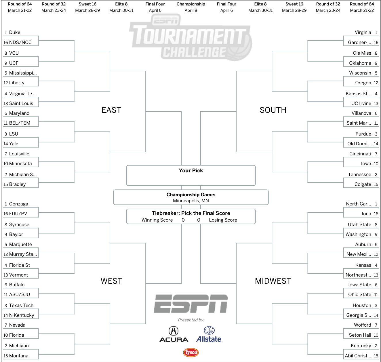 March Madness 2019: Get Your Printable Ncaa Bracket From Intended For Blank March Madness Bracket Template