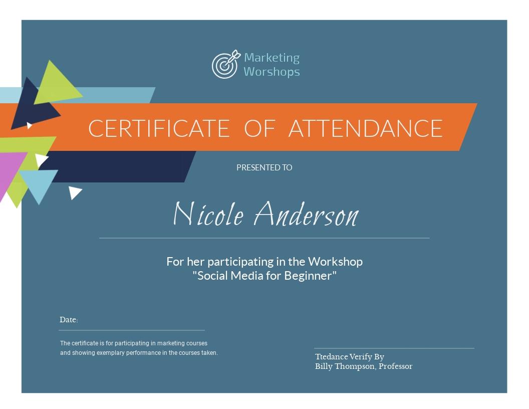 Marketing Workshop - Certificate Template - Visme With Workshop Certificate Template