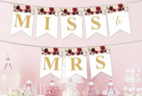 Marsala Party Banner Printable, Burgundy Floral Party throughout Bridal Shower Banner Template