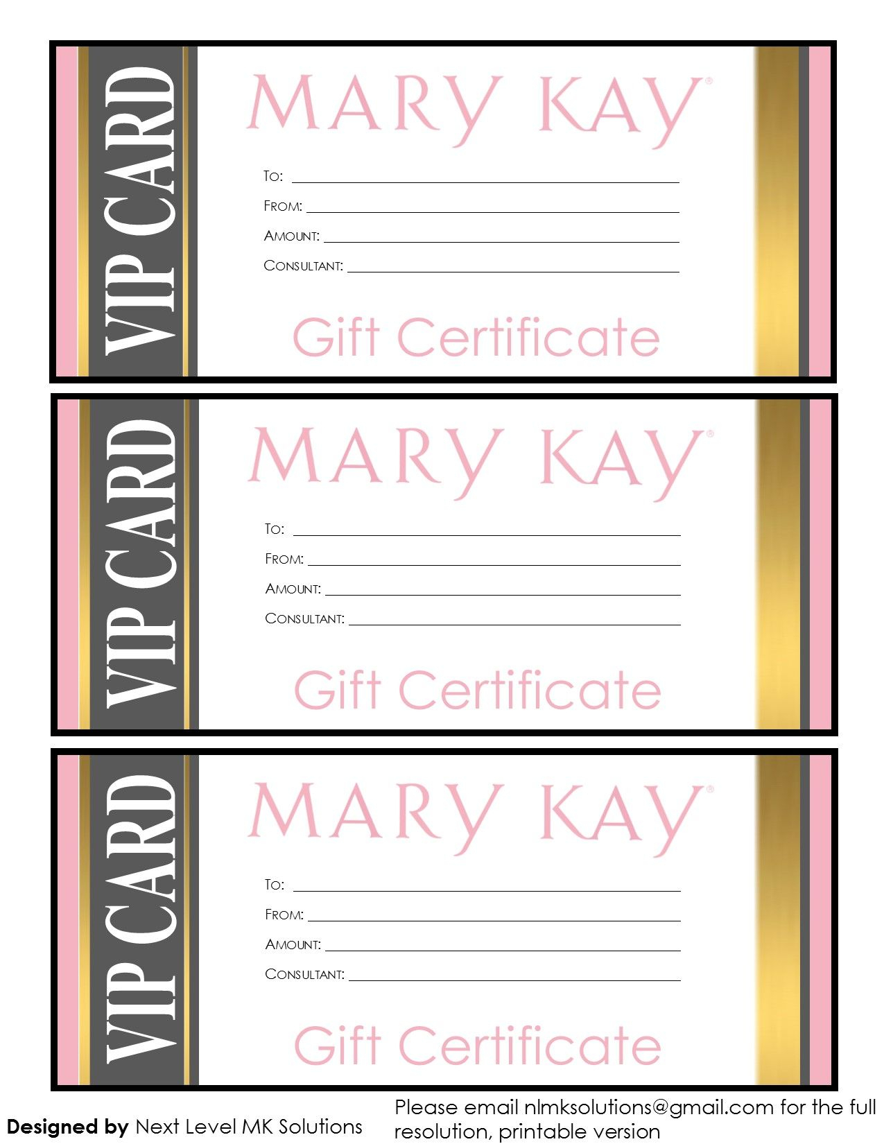 Mary Kay Gift Certificates - Please Email For The Full Pdf Inside Mary Kay Gift Certificate Template