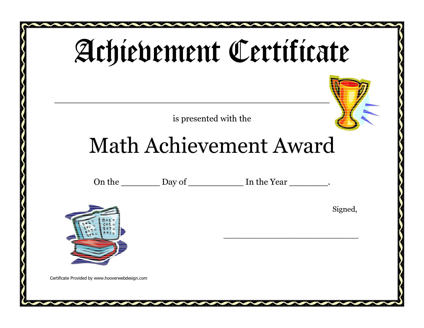 Math Achievement Award Printable Certificate Pdf   Math With Regard To Math Certificate Template