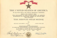 Medals for Army Good Conduct Medal Certificate Template