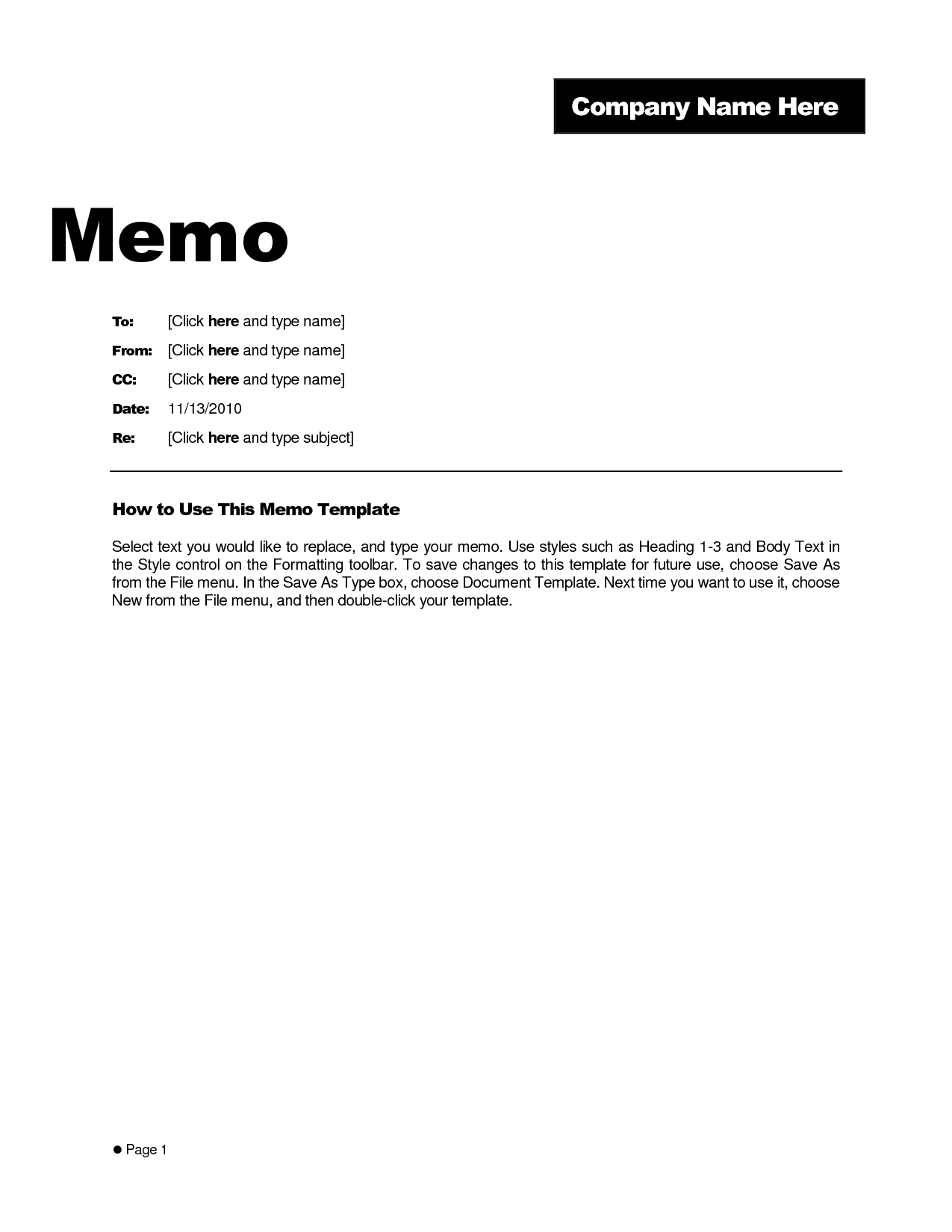 Microsoft Word Memo Template Example – Teplates For Every Day Pertaining To Memo Template Word 2010