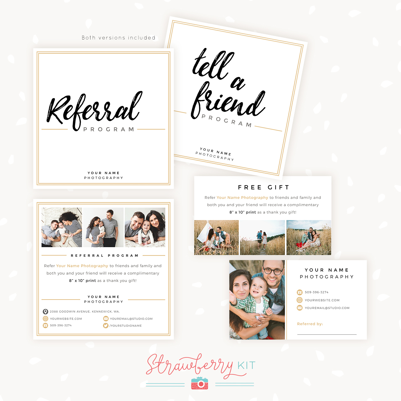 Modern Hand Lettering Referral Card Set - Strawberry Kit Throughout Referral Card Template