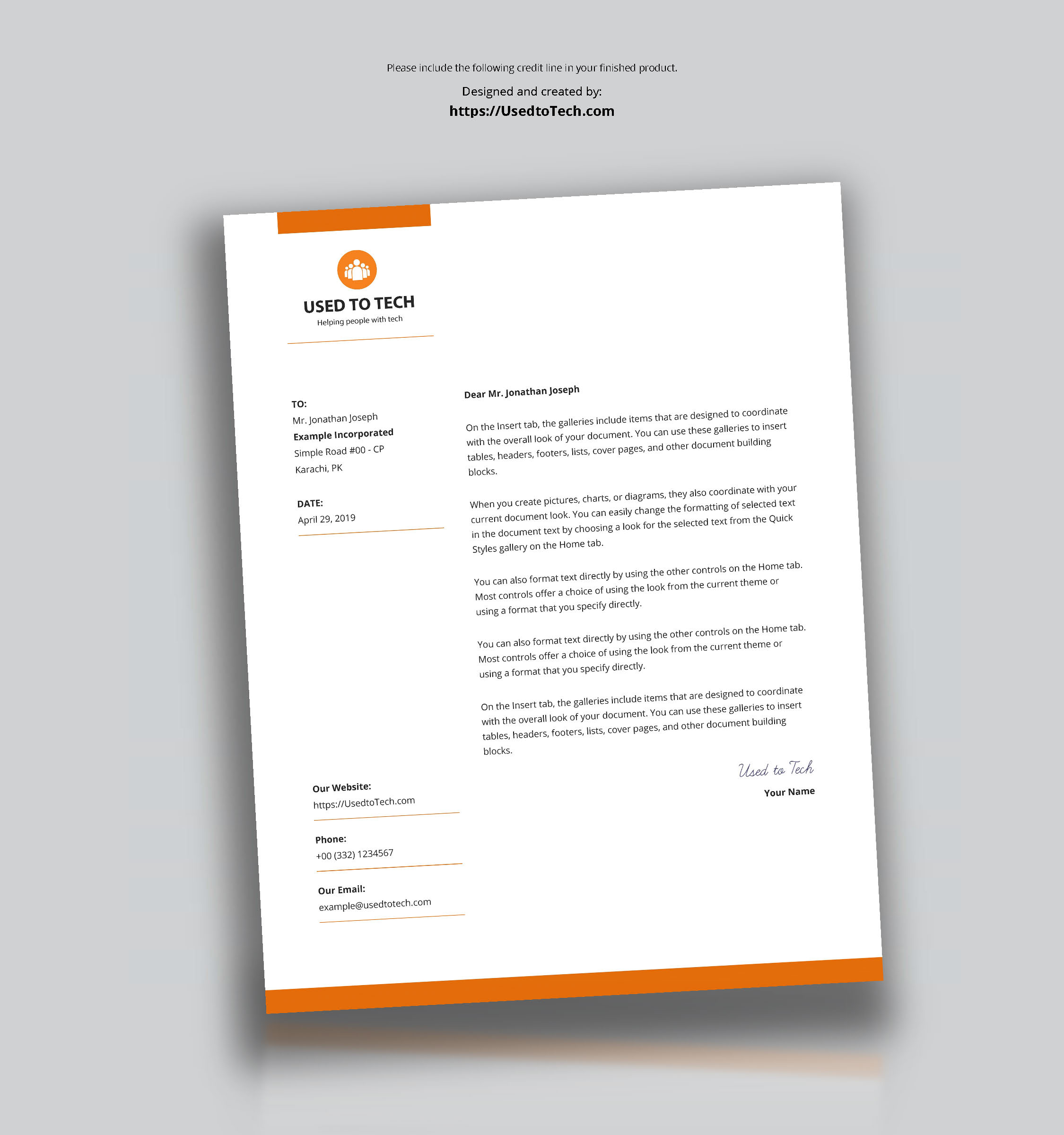 Modern Letterhead Template In Microsoft Word Free - Used To Tech Throughout Free Letterhead Templates For Microsoft Word