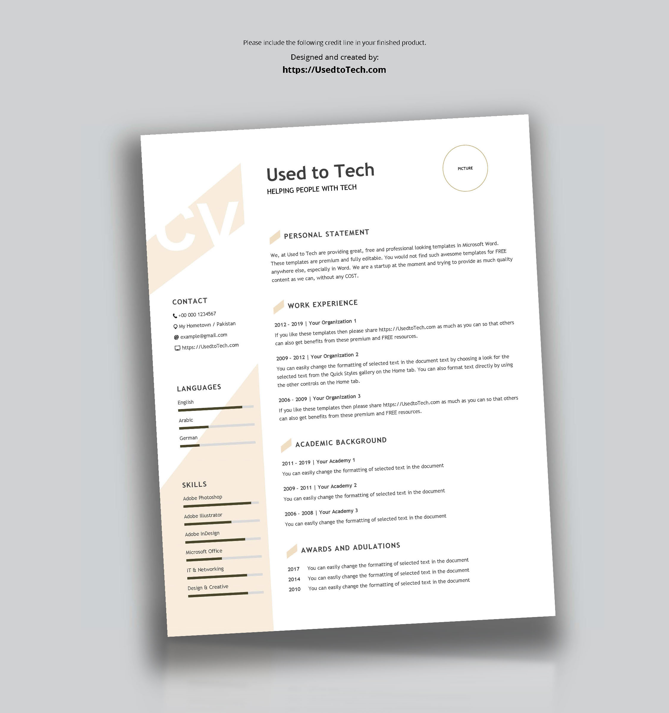 Modern Resume Template In Word Free – Used To Tech Within Resume Templates Word 2010