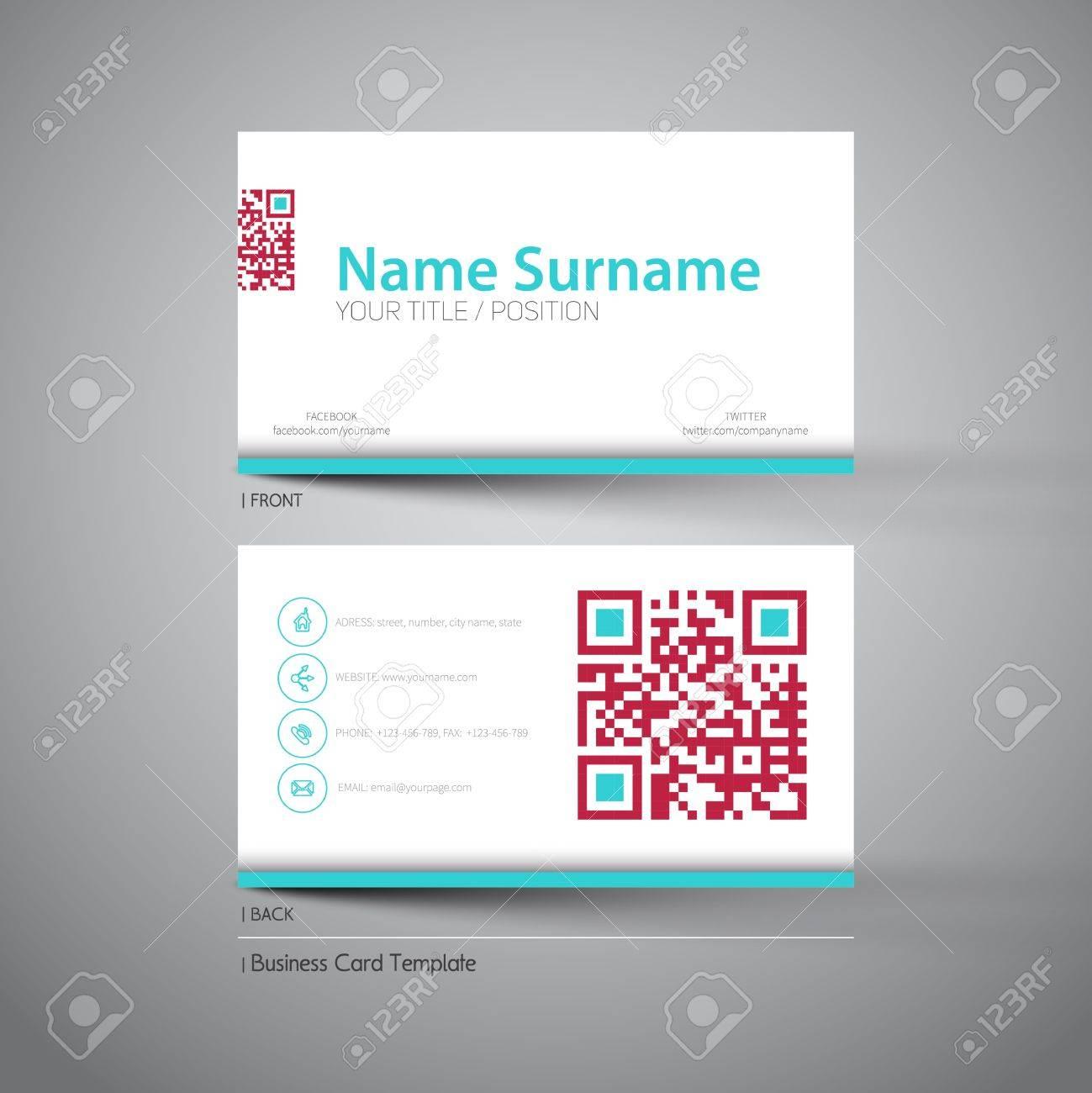 Modern Simple Light Business Card Template With Big Qr Code Inside Qr Code Business Card Template