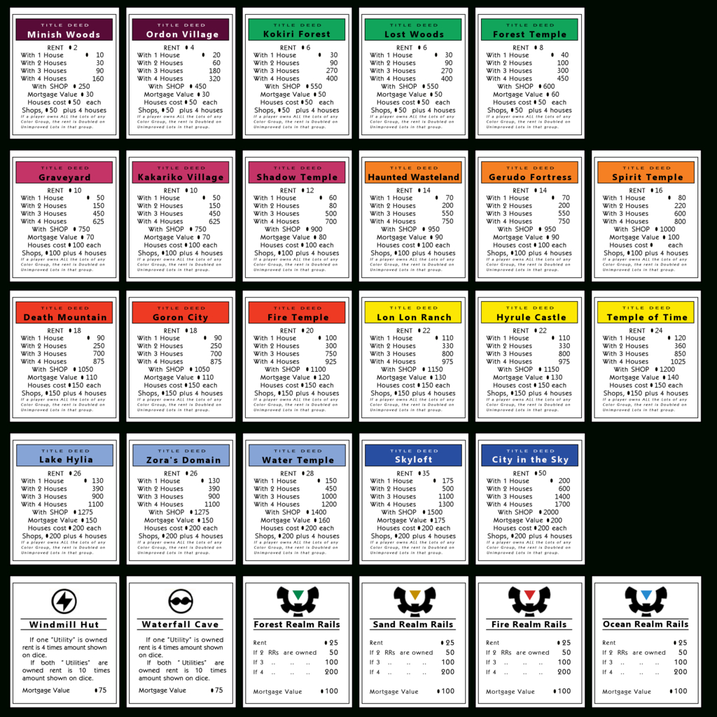 Monopoly Properties Zelda| Monopoly Games | Monopoly Intended For Monopoly Property Card Template